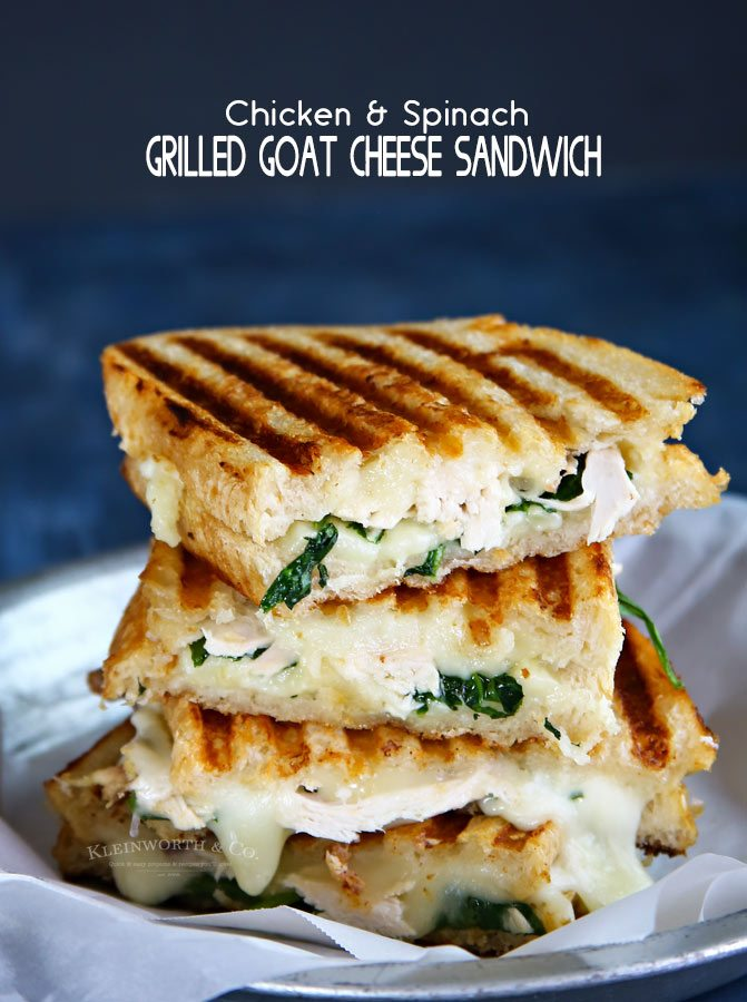 Grilled Goat Cheese Sandwich with Chicken and Spinach