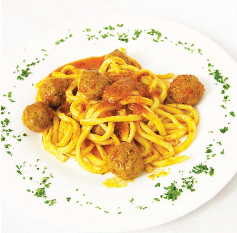 Pasta and Wild Boar Meatballs with Abruzzo Wine