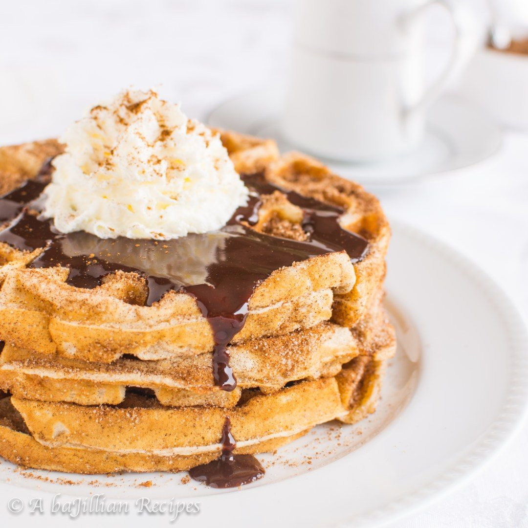 Churro Waffles and Spiced Chocolate Sauce