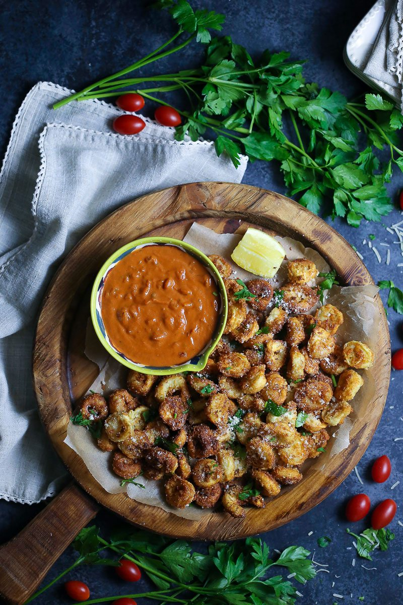 Crispy Tortellini and Tomato Dipping Sauce