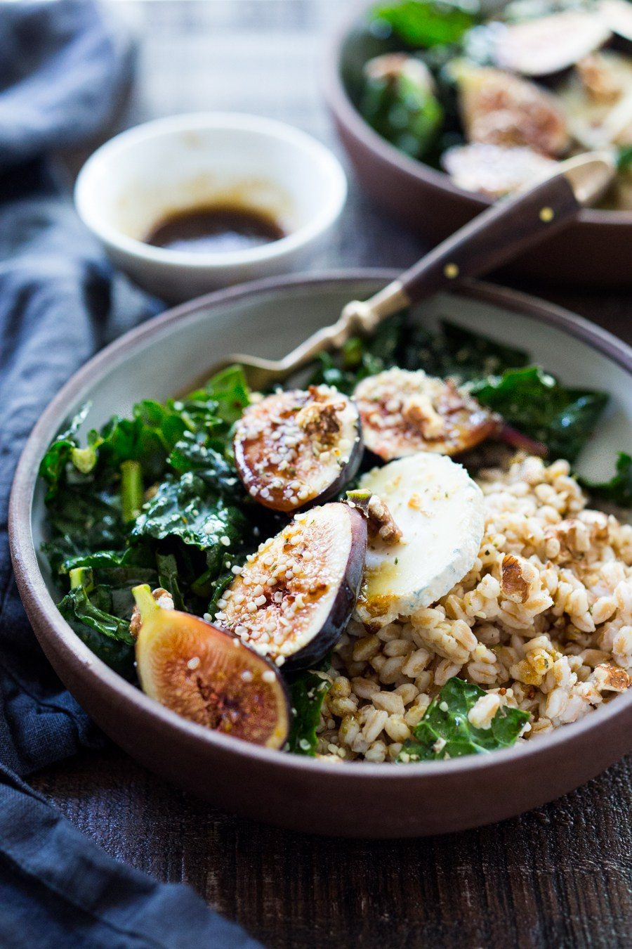 Fig, Goat Cheese and Kale Farro Bowl