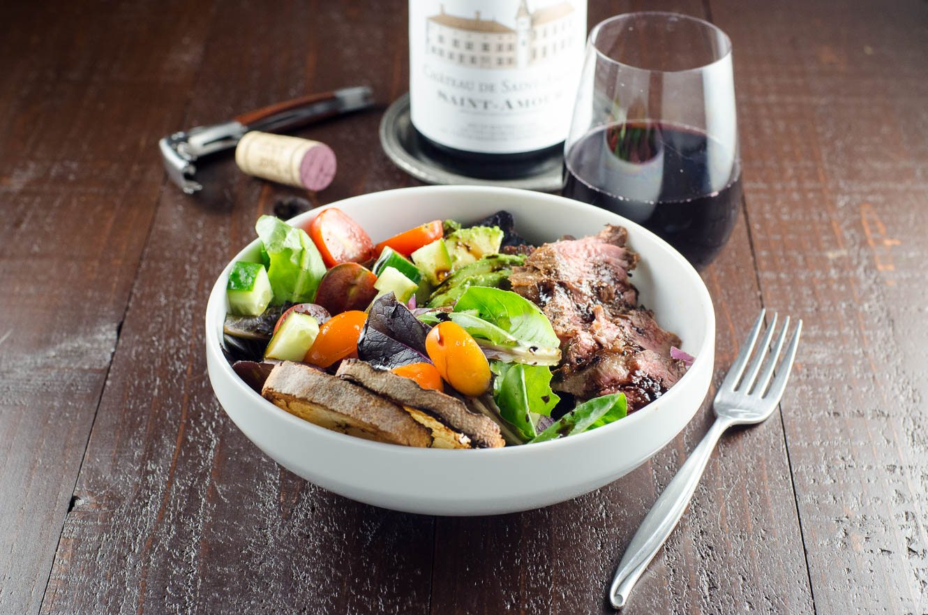 Grilled Steak Salad and Beaujolais Wine