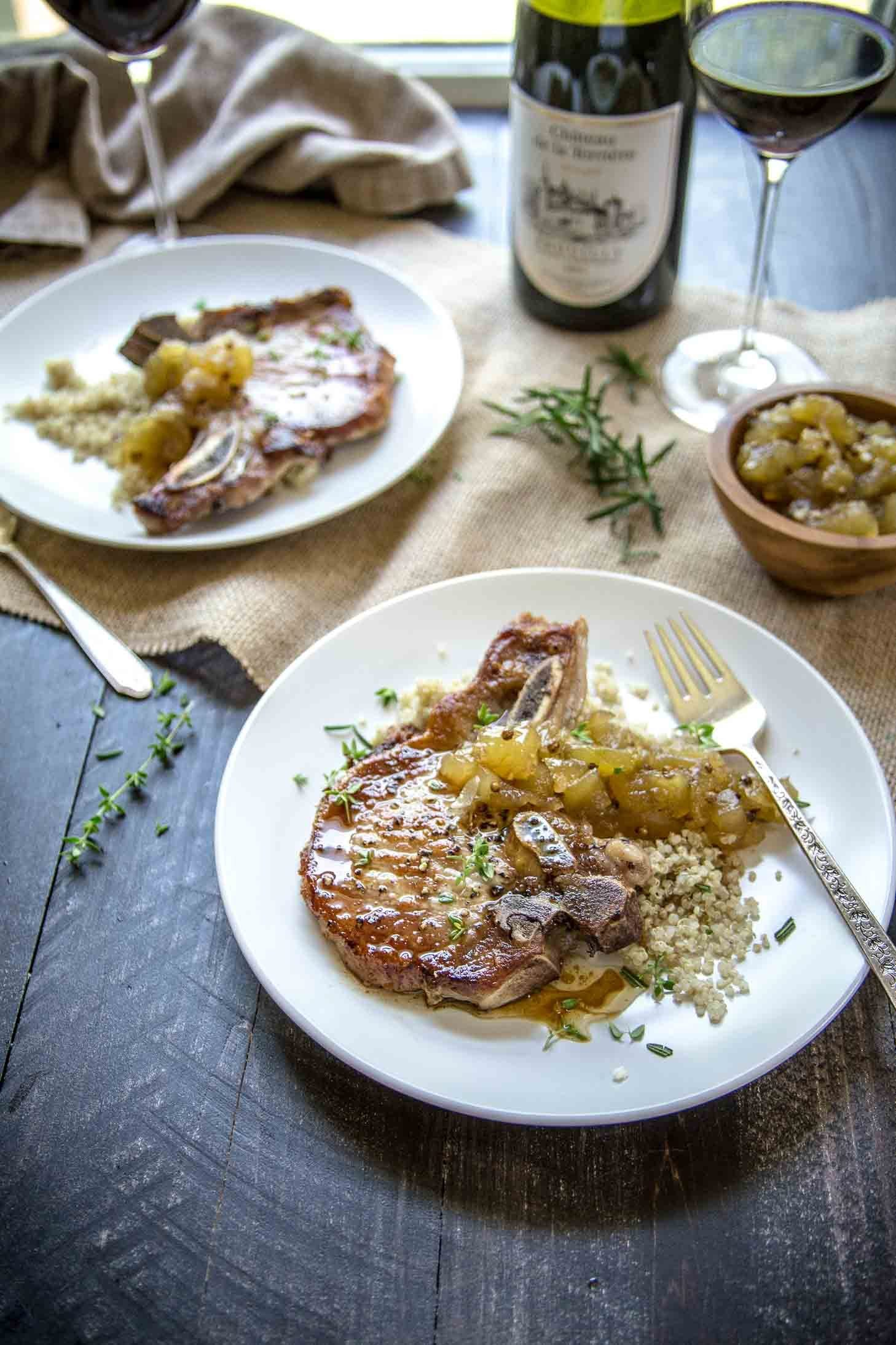Apple Chutney and Herb Pork Chops with Beaujolais Wine