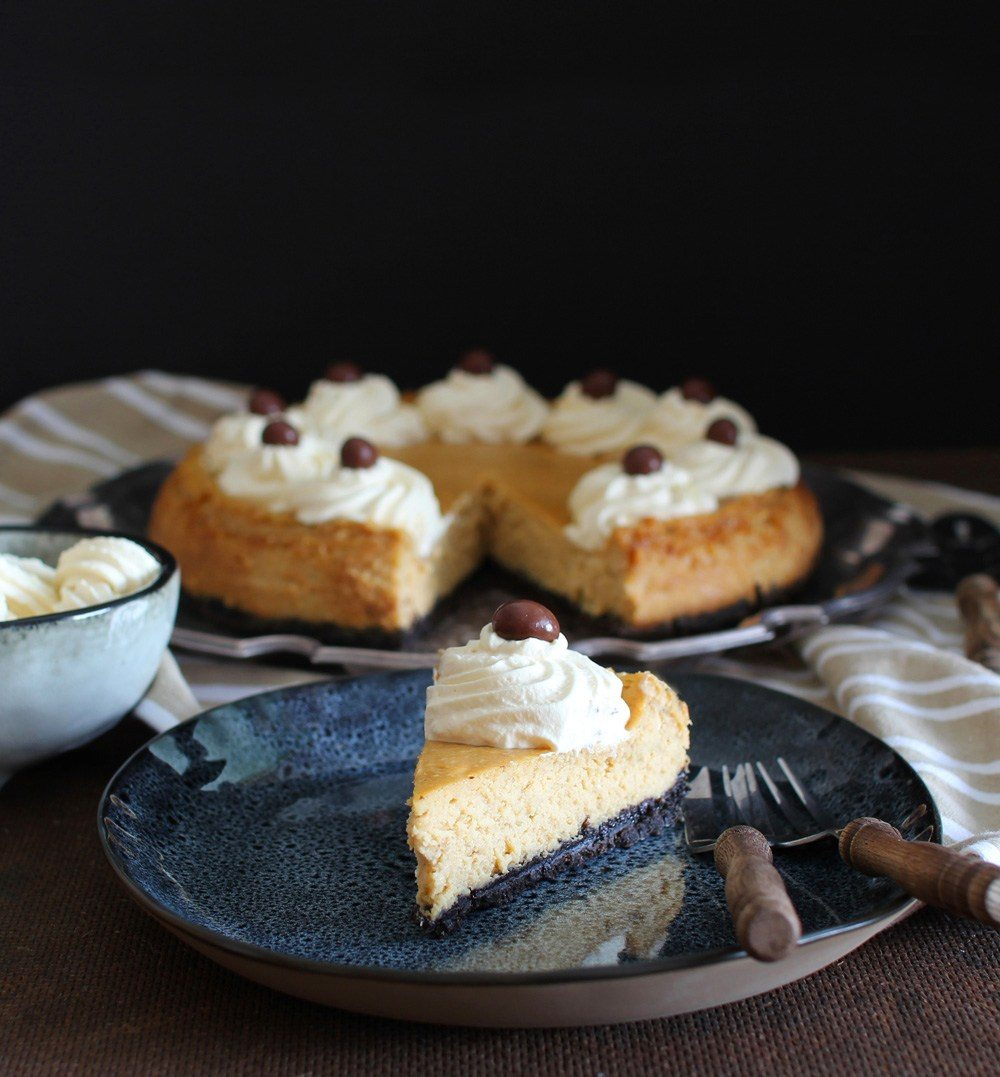 Espresso Cheesecake with Kahlúa Whipped Cream – Honest Cooking