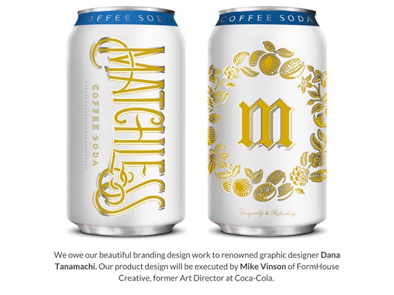 Matchless Coffee Soda can branding, provided by the Matchless team