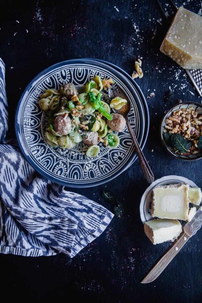 Broccoli, Sausage and Goat Cheese Orecchiette