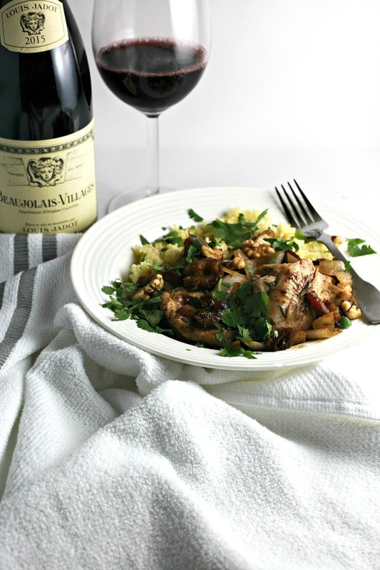 Discover Beaujolais: Mediterranean Braised Chicken with Dates and Cherries