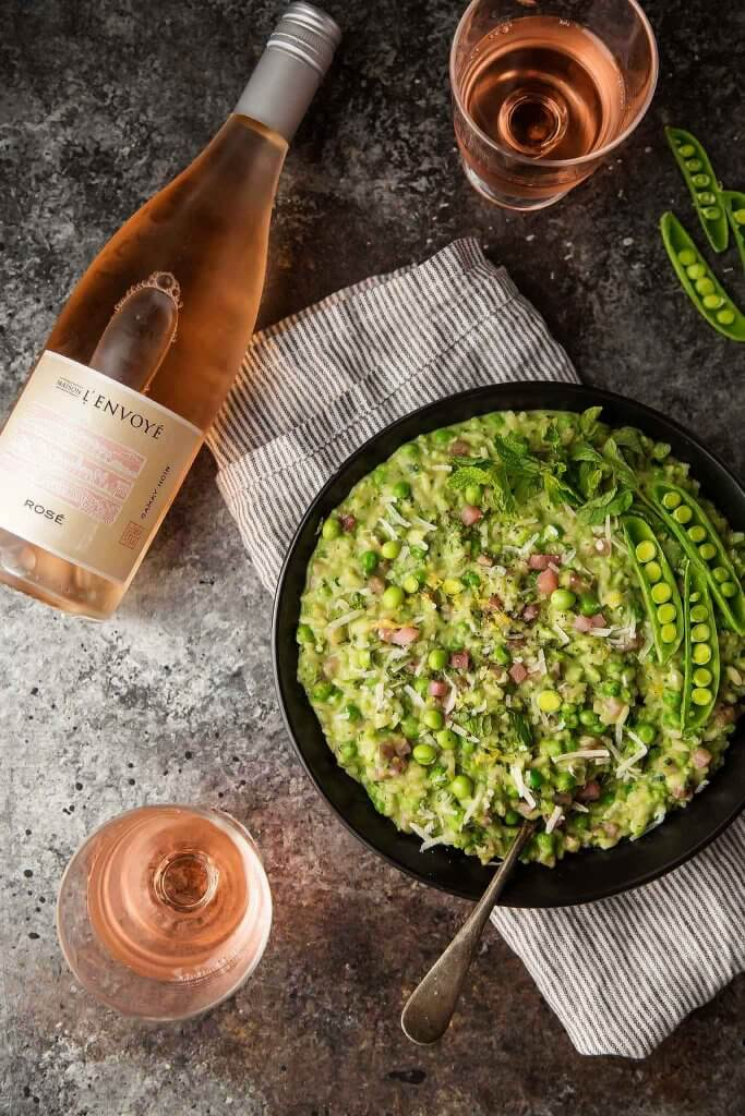 Pea, Mint and Mascarpone Risotto with Rosé and Prosciutto