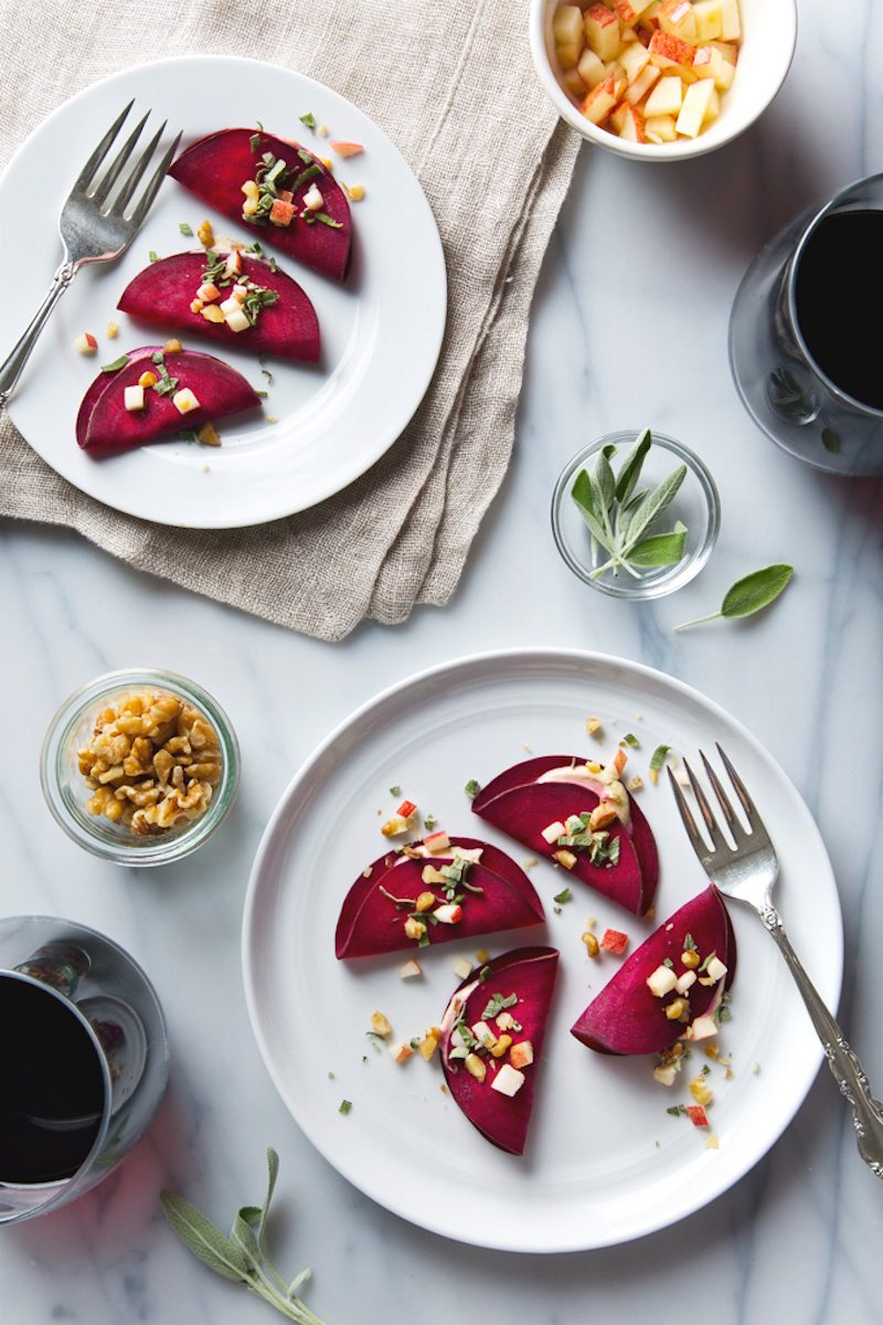 Red Wine and Raw Beet Ravioli with Cashew Cheese
