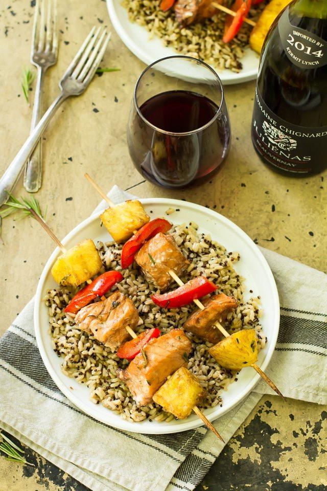 Balsamic Salmon Kabobs and Beaujolais Wine