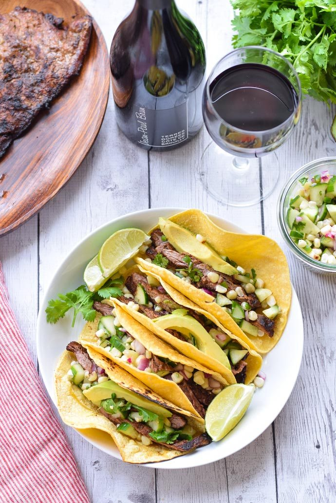 Cucumber and Corn Steak Tacos with Beaujolais Wine