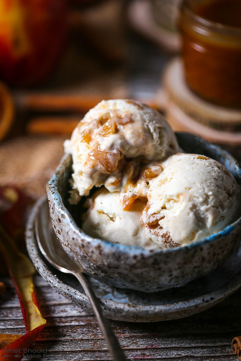 No-Churn Caramel Apple Cider Ice Cream