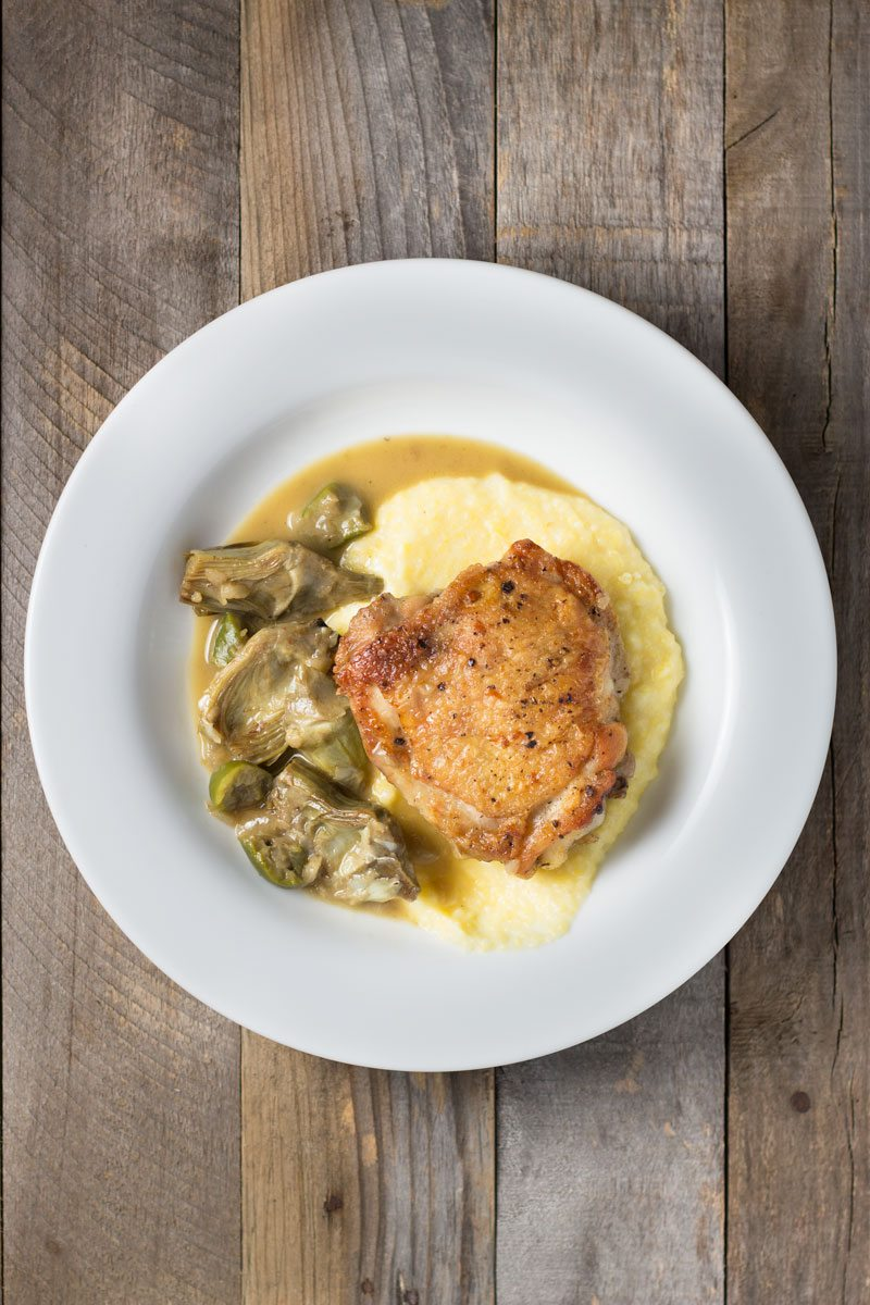 Food,-braised-chicken-thighs-&-artichokes-with-polenta,-retouch-5