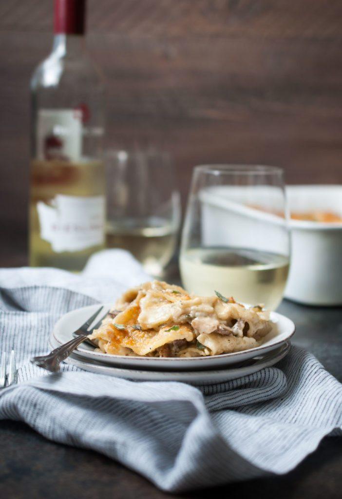 Mushroom Sage Lasagna and Dry Riesling