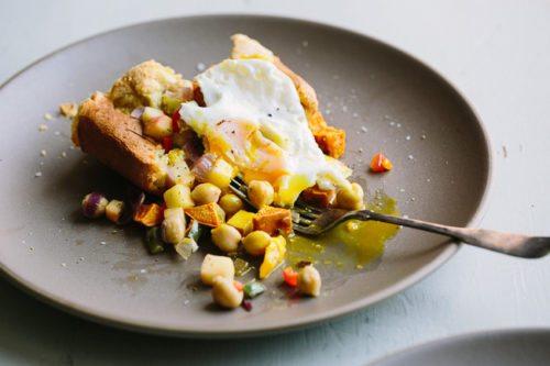 Sweet Potato Chickpea Hash and Popovers