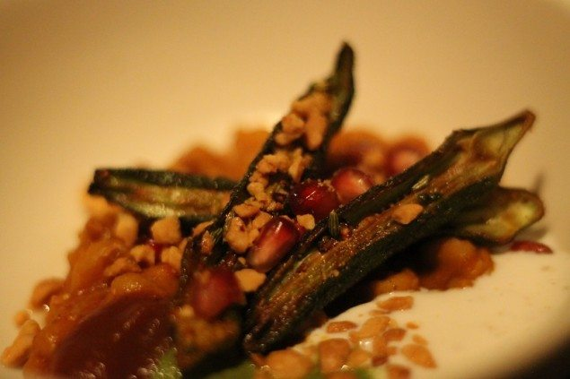 Spiced okra and 'chick-pit-pea' chaat