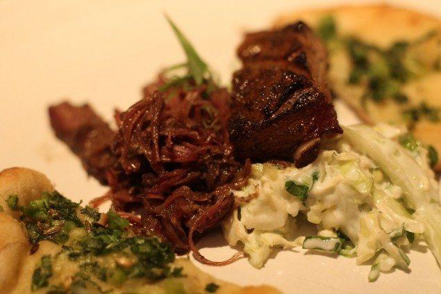 Vindaloo smoked lamb belly and ribs with cabbage raita 'slaw'