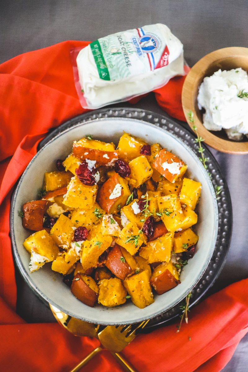 Roasted Pumpkin and Cranberries with Goat Cheese – Honest ...