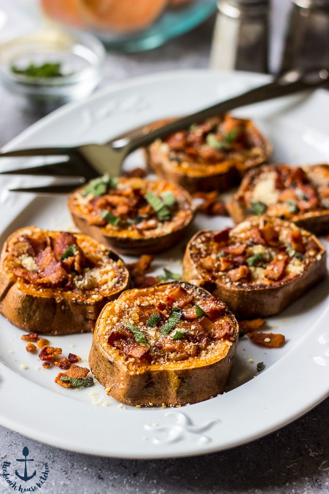 Brown Butter, Bacon, Parmesan and Sage Smashed Sweet Potatoes