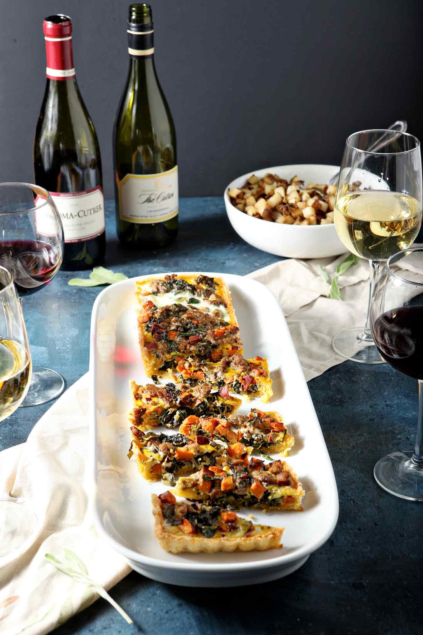Festive Brunch: Hearty Winter Quiche and Wine