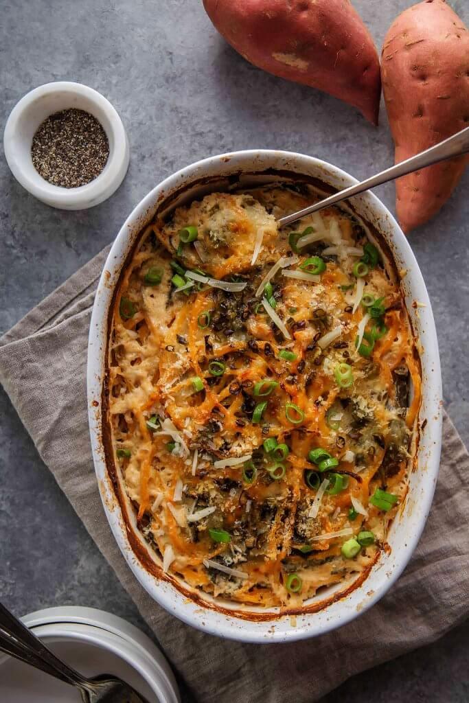 Kale And Spiralized Sweet Potato Au Gratin