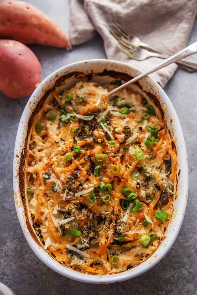 Kale and Spiralized Sweet Potato Au Gratin