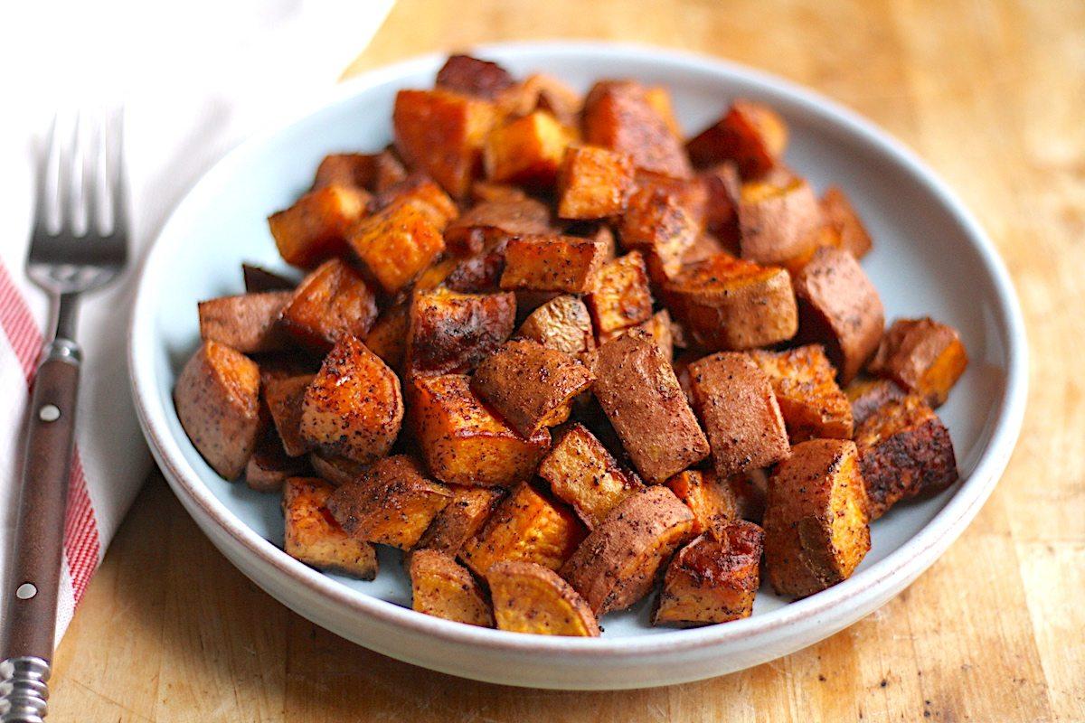 Chili And Garlic Roasted Sweet Potatoes